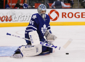 File photo of Bernier making a save while in a zombie like state of mind.